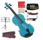 Merano 15″ Blue Viola with Case and Bow+Extra Set of Strings, Extra Bridge, Shoulder Rest, Rosin, Metro Tuner, Black Music Stand, Mute