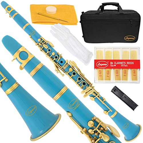 160-SB-N – SEA BLUE/LACQUER Keys Bb B flat Clarinet Lazarro+11 Reeds,Case,Care Kit~24 COLORS Available,CLICK on LISTING to SEE All Colors