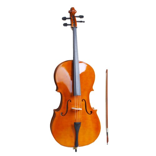 Glarry 4/4 Wood Cello with Bag , Bow , Rosin , Bridge Natural for adults
