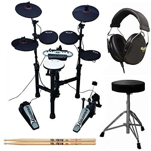 Carlsbro CSD130 9-Piece Compact Electronic Drum Kit + Cannon UP197 Drum Throne + Drummer Isolation Headphones + Vic Firth American Classic 5A Drum Sticks