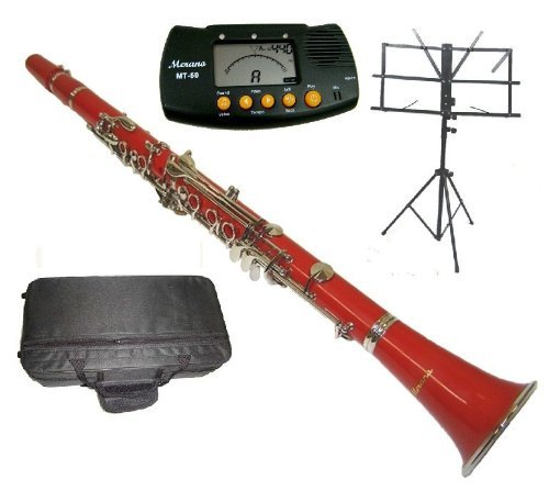 Merano B Flat Red / Silver Clarinet with Case+Metro Tuner+Black Music Stand