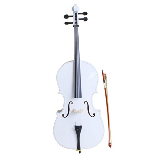 Crazy K&A New 4/4 Full Size Wood Cello with Bag , Bow , Rosin , Bridge (White)