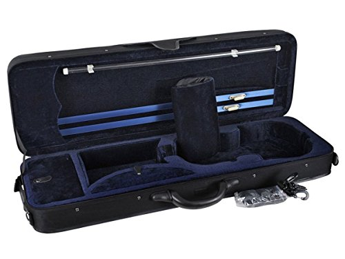 ADM 4/4 Full Size Professional Oblong Shape Hightech Super Light Suspension Cushioning Violin Carry Hard Case with Secure Latch