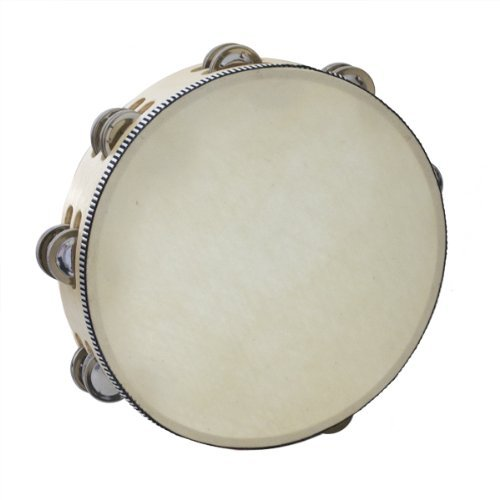 Kalos by Cecilio 10-Inch Wooden Tambourine with 16 Pairs of Jingles, KP_TMW10-2C