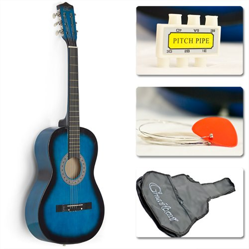 38″ Blue Student Acoustic Guitar Starter Package, Guitar, Gig Bag, Strap, Pitch Pipe