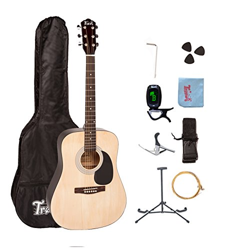 Trendy 41 Inch Full Size Dreadnought 6 Steel String Beginner Acoustic Guitar Package with Clip-On E-Tuner, Extra Strings, Strap, Picks and Polishing Cloth – Natural