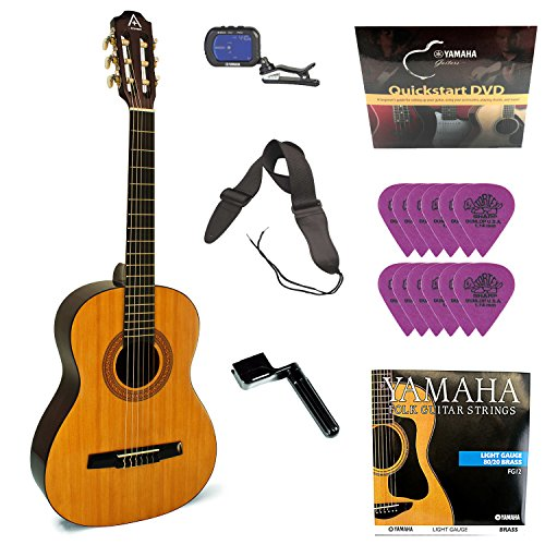 A+ by Hohner Guitar (Nylon string 3/4 size) with Clip-on Tuner + Strap + Guitar Strings + DVD and Accessory Bundle