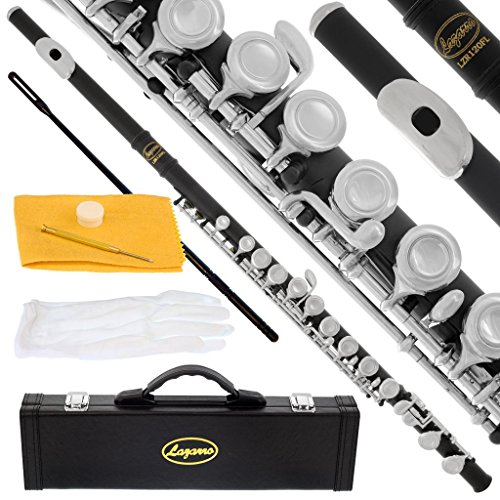 120-BK-N – BLACK/SILVER Keys Closed C Flute Lazarro+Pro Case,Care Kit – 22 COLORS Available ! CLICK on LISTING to SEE All Colors