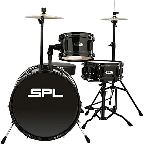 Sound Percussion Labs Lil Kicker – 3 Piece Jr Drum Set with Throne Black