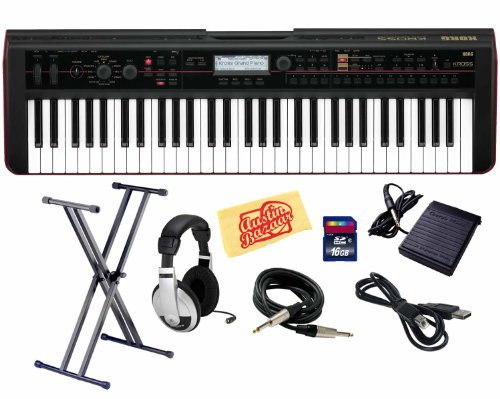 Korg Kross 61-Key Portable Synthesizer Workstation Bundle with Keyboard Stand, SD Card, Sustain Pedal, USB Cable, Instrument Cable, Headphones, and Polishing Cloth