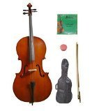 GRACE 4/4 Size Natural Cello with Bag and Bow+Rosin+Extra Set of Strings