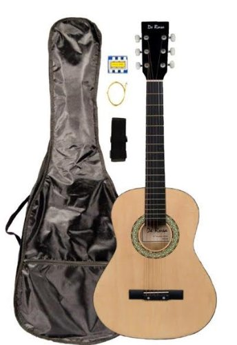 36″ Inch 3/4 Scale Size Natural Student Beginner Acoustic Guitar with Carrying Case & Accessories & DirectlyCheap(TM) Translucent Blue Medium Guitar Pick (A-PRO Series)