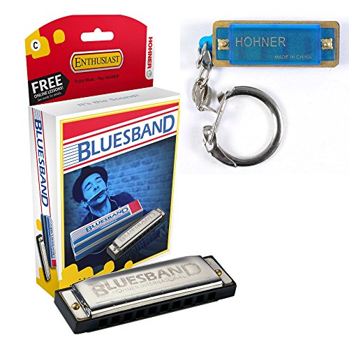 Hohner 1501BX Blues Band, Harmonica, C With Free Hohner Mini Color Harmonica KeyChain