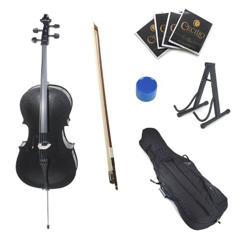 Cecilio CCO-Black Student Cello with Soft Case, Stand, Bow, Rosin, Bridge and Extra Set of Strings, Size 1/8
