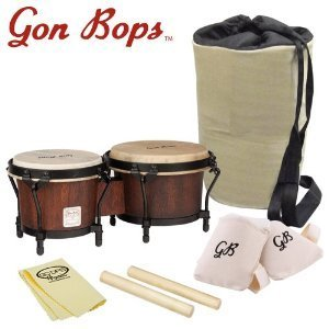 Gon Bops MBBG-KIT-1 Mariano Series Bongos with Claves, Knee Pads, GoDpsMusic, Polish Cloth and Carrying Bag