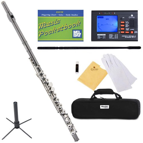 Mendini MFE-BNN+SD+PB+92D Black Nickel Plated with Nickel Plated Keys Closed Hole C Flute with 1 Year Warranty, Case, Tuner, Stand, and More