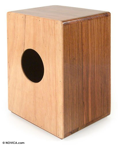 Wood mini-cajon drum, 'Harvest Beat' – Hand Crafted Wood Minicajon Drum Peruvian Percussion