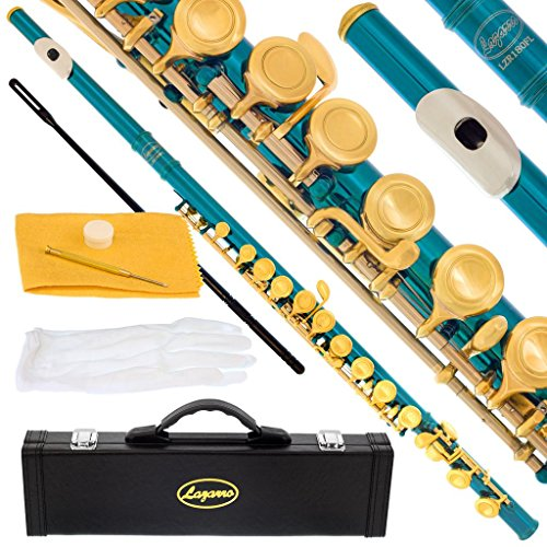 180-SB – SEA BLUE/GOLD Keys Closed C Flute Lazarro+Pro Case,Care Kit – 22 COLORS Available ! CLICK on LISTING to SEE All Colors