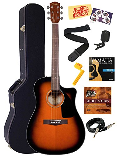 Fender CD-60CE Dreadnought Cutaway Acoustic-Electric Guitar Bundle with Hardshell Case, Instrument Cable, Strap, Strings, Tuner, Stringwinder, Picks, Instructional DVD, and Polishing Cloth – Sunburst