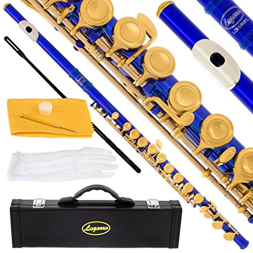 180-BU – BLUE/GOLD Keys Closed C Flute Lazarro+Pro Case,Care Kit – 10 COLORS Available ! CLICK on LISTING to SEE All Colors