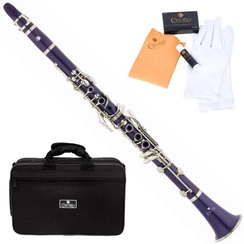 Cecilio 2Series CT-28P Purple ABS Bb B-Flat Clarinet + Case, Mouthpiece, 10 Reeds and Accessories
