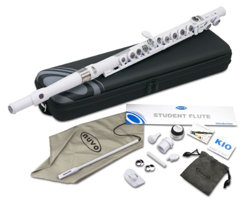 Nuvo N210SFWT Student Flute Kit with Straight Head, C-Foot, Case and Accessories – White with Stainless Steel Collars