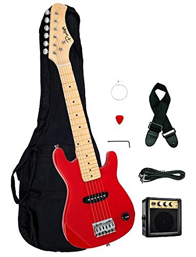 1/2 Half Size Kids Red 30″ Inch Electric Guitar and Amplifier Pack & Gig Bag, Strap, Cable, & DirectlyCheap(TM) Translucent Blue Medium Guitar Pick