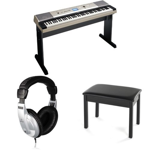 Yamaha YPG-535 88-Key Portable Grand Graded-Action USB Keyboard Value Pack with Matching Stand, Adapter, Sustain Pedal, Padded Bench and Headphones