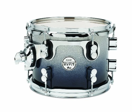 Pacific Drums PDCM0810STSB 8 x 10 Inches Tom with Chrome Hardware – Silver to Black Fade