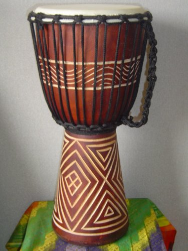 20″ X 10-11″ Deep Carved Djembe Bongo Drum with Free Cover, Model # 50m13