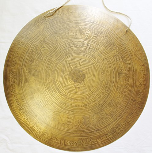 F604 21″ Very Artistic Tibetan Temple Disc Gong Hand Made in Nepal