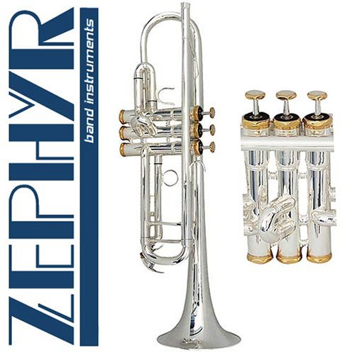 Zephyr 606S Deluxe Double-Braced Silver Trumpet w/Gold Trim Outfit