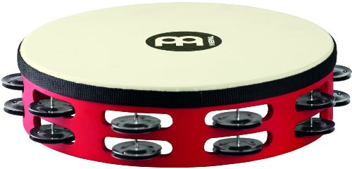Meinl Percussion TAH2BK-R-TF Touring 10-Inch Wood Tambourine with Synthetic Head and Steel Jingles, 2 Row