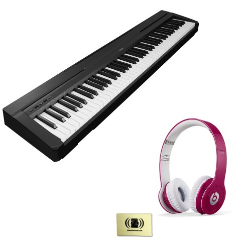 Yamaha P-Series P-35 88-Key Digital Piano with Graded Hammer Standard Keyboard and Built-in Speaker System Bundle with Beats by Dr. Dre Solo HD On-Ear Headphones (Bubble Gum Pink) and Custom Designed Zorro Sounds Instrument Cloth
