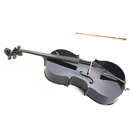 GLARRY 4/4 Size Wood Acoustic Cello With Soft Case, Bow and Rosin Black for adults