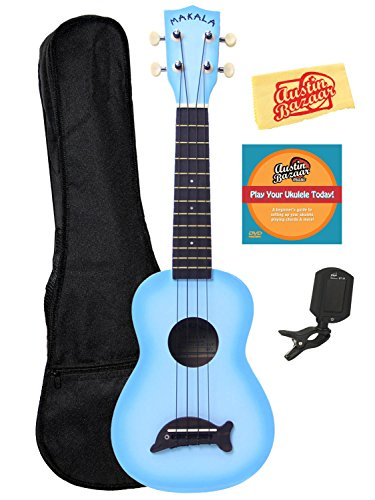 Kala MK-SD-LBBURST Makala Dolphin Soprano Ukulele Bundle with Gig Bag, Austin Bazaar Instructional DVD, Clip-On Tuner, and Polishing Cloth – Light Blue Burst