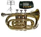 Merano NEW B Flat Gold / Silver Pocket Trumpet with Case+Mouth Piece+Metro Tuner+Black Music Stand