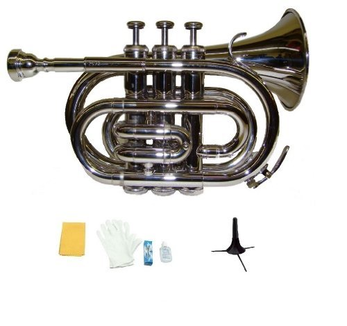 Merano B Flat Silver Nickel Pocket Trumpet with Case+Mouth Piece;Valve oil;A Pair Of Gloves;Soft Cleaning Cloth+Stand
