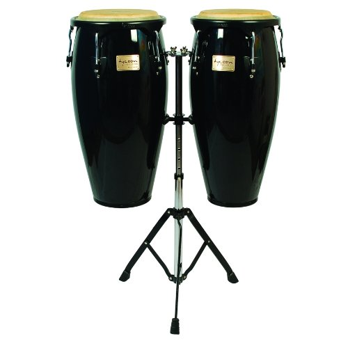 Tycoon Percussion 10 Inch & 11 Inch Congas Black Finish With Double Stand