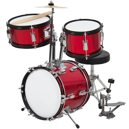 Drum Set 3 Pc Kids 12″ Red Beginners Complete Set with Throne, Cymbal and More