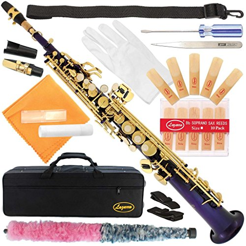 300-PR-PURPLE/GOLD Keys Bb STRAIGHT SOPRANO Saxophone Sax Lazarro+11 Reeds,Care Kit~22 COLORS~SILVER or GOLD KEYS~CHOOSE YOURS !