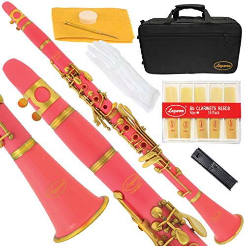 160-PK-L – PINK/GOLD Bb B flat Clarinet Lazarro+11 Reeds,Case,Care Kit~12 COLORS Available,CLICK on LISTING to SEE All Colors