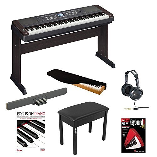 Yamaha DGX650B 88-Key Graded Hammer Action Digital Piano with Yamaha LP7A Foot Pedal, Knox Piano style Bench, JVC Headphones, Dust Cover, Focus on Piano Book (with CD) and Fasttrack DVD
