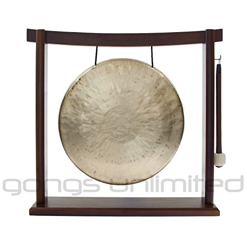 "Traditional 12″ (30 cm) Bronze Chinese White Gong (also called ""Double Light"") on Woodsonic Gong Stand – Perfect small size for Desktop and Tabletop, Home Decor, Feng Shui, Shrine, Meditation – High Quality Bright and Clear Tone – Handmade by China's Best Gongmakers in Wuhan (Combo includes Gong, Gong Stand and Mallet) – Gongs Unlimited"