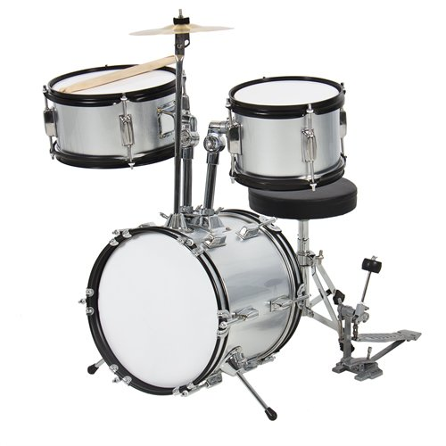 Drum Set 3 Pc Kids 12″ Silver Beginner Complete Set with Throne, Cymbal and More
