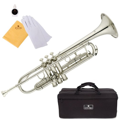 Cecilio 2Series TT-280N Nickel Plated B Flat Trumpet + Hard Case, Mouthpiece and Accessories