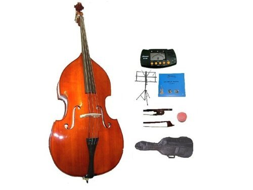 GRACE 1/4 Size Student Natural Upright Double Bass with Bag,Bow,Bridge+2 Sets Strings+Rosin+Music Stand+Metro Tuner