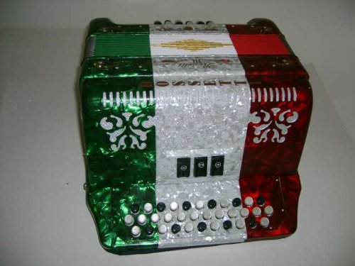 Rossetti, 3412V RWG EAD, 34 Button Accordion 12 Bass 3 Switch Key of E-A-D, Red, White & Green