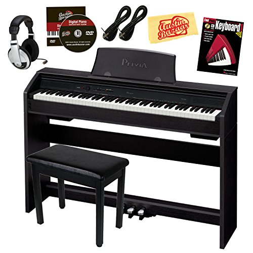 Casio Privia PX-760 88-Key Digital Piano Bundle with Gearlux Furniture-Style Bench, Austin Bazaar Instructional DVD, Two Gearlux 1/4-Inch Instrument Cables, Instructional Book, Headphones, and Polishing Cloth – Black