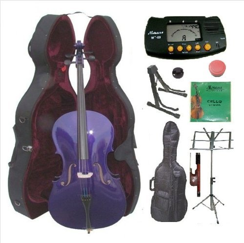 Merano 4/4 Size Purple Cello with Hard Case, Bag and Bow+2 Sets of Strings+Cello Stand+Black Music Stand+Metro Tuner+Mute+Rosin